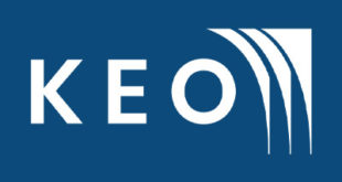 This is keo international official logo. Blue background with K E O white fonts. and also 3 white designed triangles shape structures in right side.