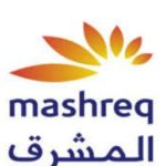 its Mashreq Bank official logo.white background and wrote mashreq in english and arabic. and a curved flower leaf like orange color.