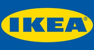 IKEA company logo in blue color placed in yellow oval round shape border. outside the yellow boarder where seen Blue color place.