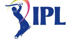 this logo is official logo of IPL (indian Premier League) White background with a batsman shadow smashing and right side IPL.