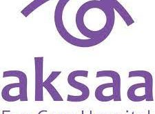 official aksaa eye care hospital logo.white background with eye logo and written aksaa.