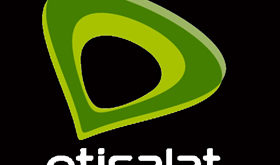 this image is etisalat official logo. it looks like Black backround and written on ' etisalat' top of the font there are triangleoval shaped logo.